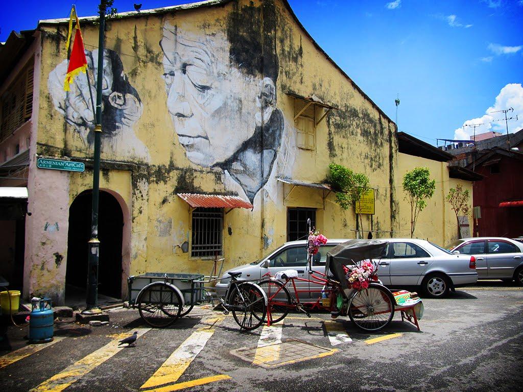 Penang Street Art The Old Man Wall Mural Perspective