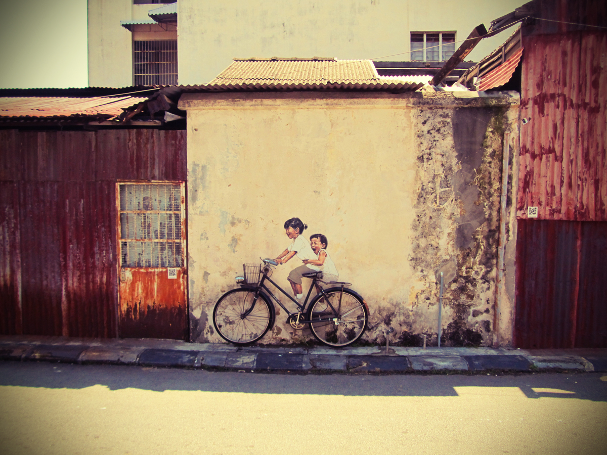 Penang Street Art (Children on a Bicycle) | Perspective of Penang