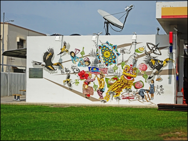 A Large Wall Art Mural Painted On The Of Shell Petrol Station Located Along Tun Dr Lim Chong Eu Expressway Or Jelutong